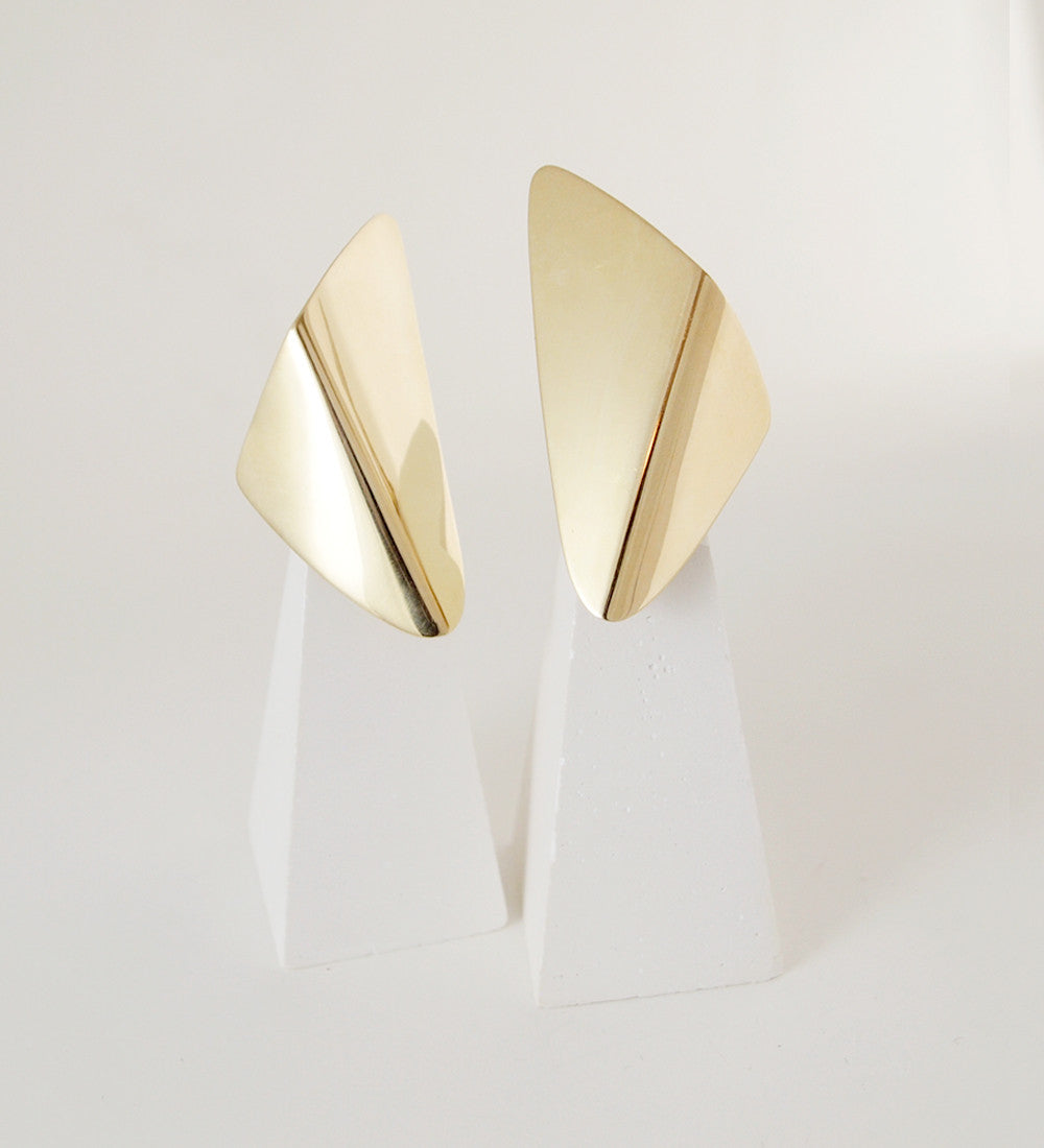 "Hans Hansen and Georg Jensen 18K Gold ""Fjer"" Earrings - Sold - Hopea"