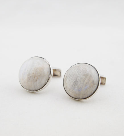 1970s Kaunis Koru Sterling Silver Moonstone Cufflinks - Sold