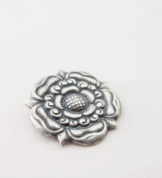 1900s Arts & Crafts Era Silver Rose Brooch Norway