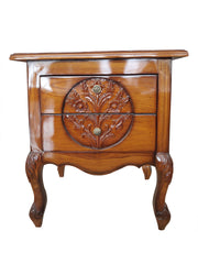 Solid Teak Wood With Teak Finish Side Table - 100decor