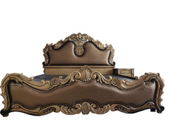 Brown Leather With Golden Finish Storage Bed - 100decor