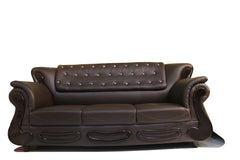 Dark Brown Leather 3 Seater Sofa - 100decor