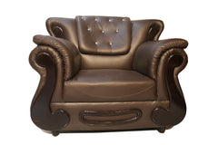 Brown Leather 3 Seater Sofa - 100decor