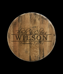 Wedding Guestbook Reclaimed Bourbon Barrel Head