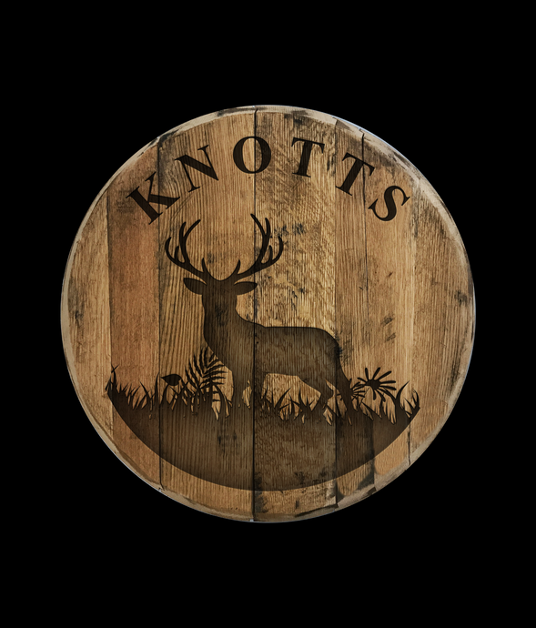 Personalized Deer Reclaimed Bourbon Barrel Head