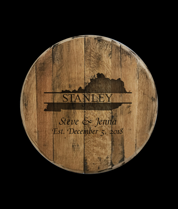 Personalized Kentucky Guestbook Reclaimed Bourbon Barrel Head