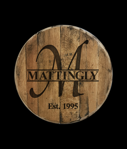 Personalized Monogram Name Reclaimed Bourbon Barrel Head