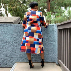 Colorful Patchwork Trench Coat
