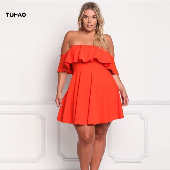 TUHAO Off Shoulder Ruffle Plus Size Dress
