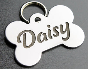 "Deep Engraved Stainless Steel Pet ID Tag - Bone (1"" x 1-1/2"")"