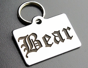 "Deep Engraved Stainless Steel Pet ID Tag - Rectangle (7/8""x1-1/4"")"