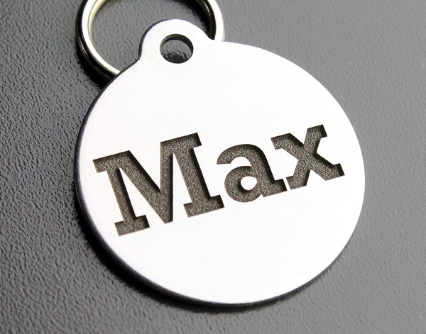 "Deep Engraved Stainless Steel Pet ID Tag - Round (1-1/4""X1-1/8"")"