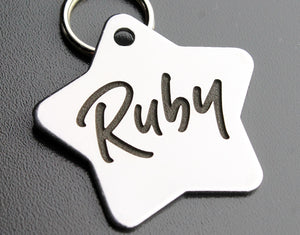 "Deep Engraved Stainless Steel Pet ID Tag - Star (1-1/3""x1-1/2"")"