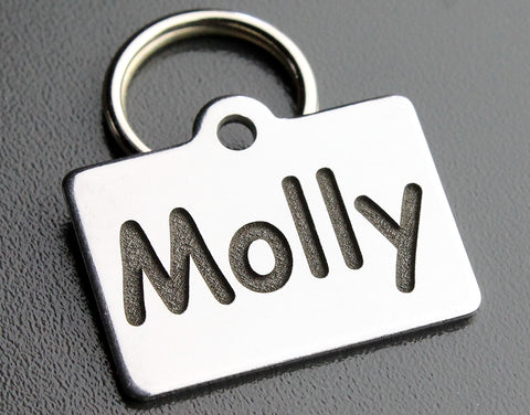"Deep Engraved Stainless Steel Pet ID Tag - XS Rectangle (3/4""x1"")"