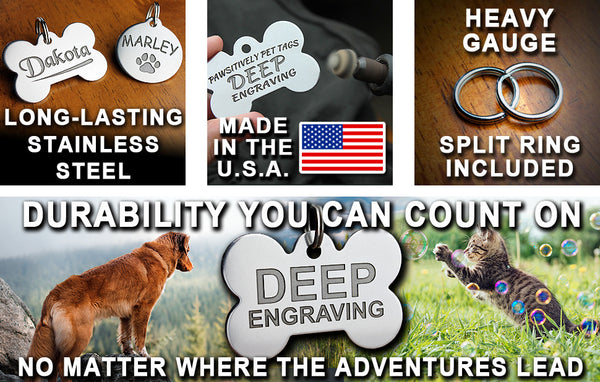 "Deep Engraved Stainless Steel Pet ID Tag - Military Dog Tag (7/8"" x1-1/2"")"