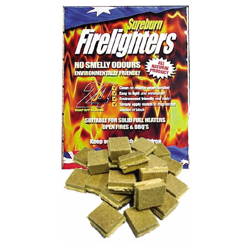 Sureburn Firelighters Waterproof & Natural 24 Pack