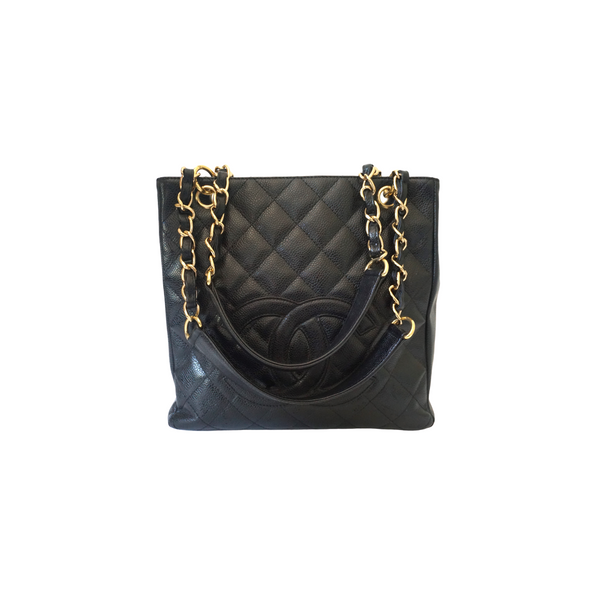 Chanel Quilted Caviar Leather Petite Shopper Tote