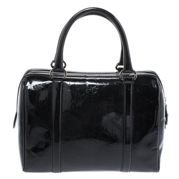 Dior Black Monogram Patent Leather Bowling Bag