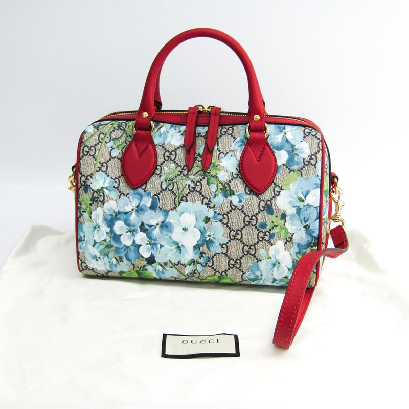Buy & Consign Authentic Gucci GG Supreme Monogram Blooms Small Top Handle Boston Bag Blue at The Plush Posh