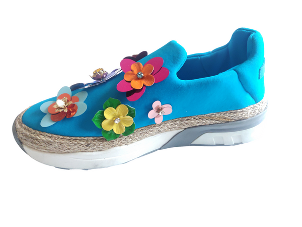 D&G Blue Bambino Sequinned Sneakers