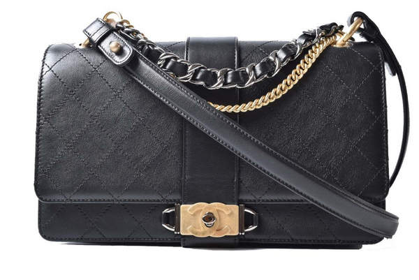 Chanel Black Leather Flap Shoulder Bag