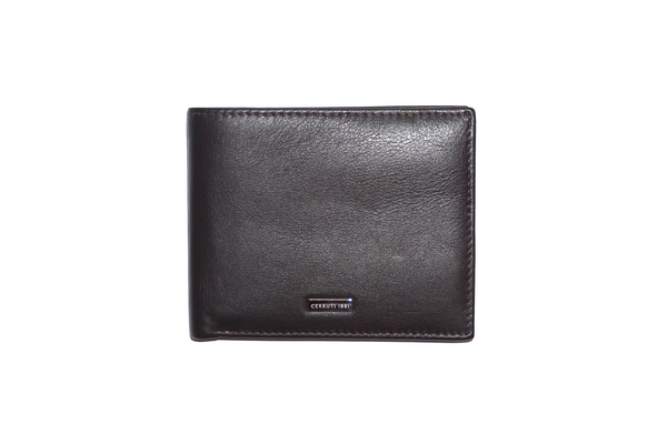 Cerruti Classic Pebbled Calfskin Leather Wallet Dark Brown