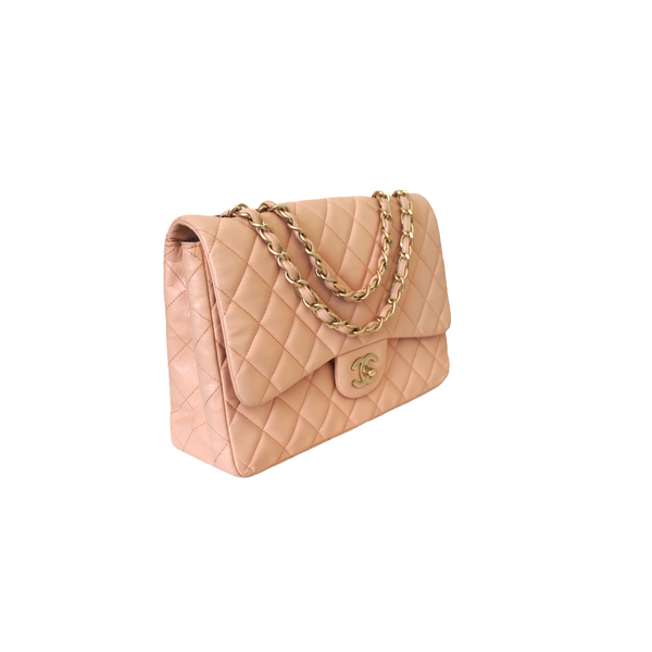 Chanel Lambskin Quilted Jumbo Single Flap Peachy Pink