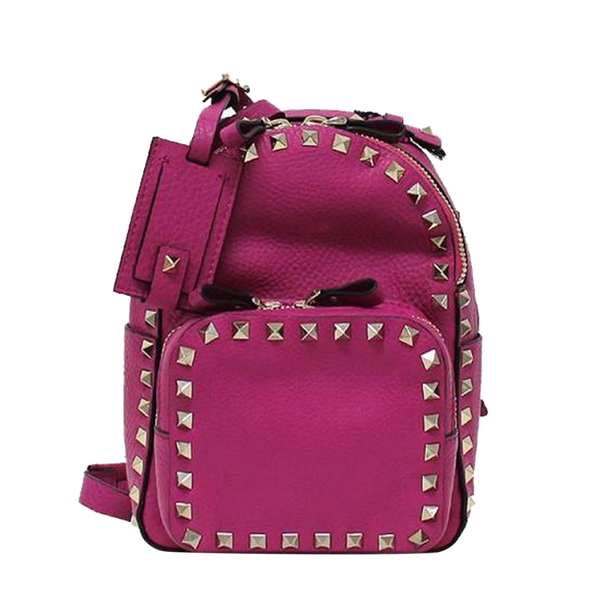 Buy & Consign Authentic Valentino Calfskin Mini Rockstud Backpack Pink at The Plush Posh