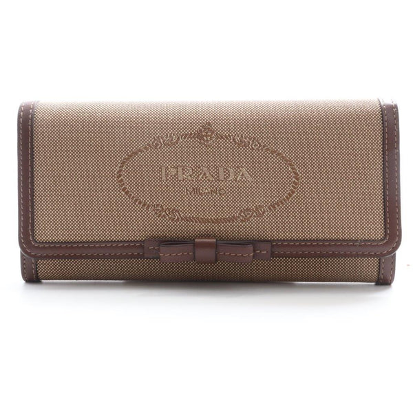 Buy & Consign Authentic Prada Purse With Pass Case Canvas Wallet Khaki Brown at The Plush Posh