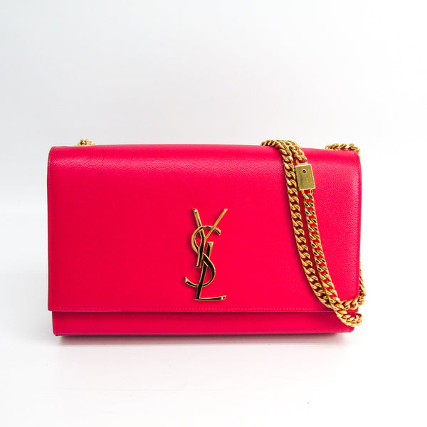 Buy & Consign Authentic Saint Laurent Grain De Poudre Medium Monogram Kate Satchel Pink at The Plush Posh