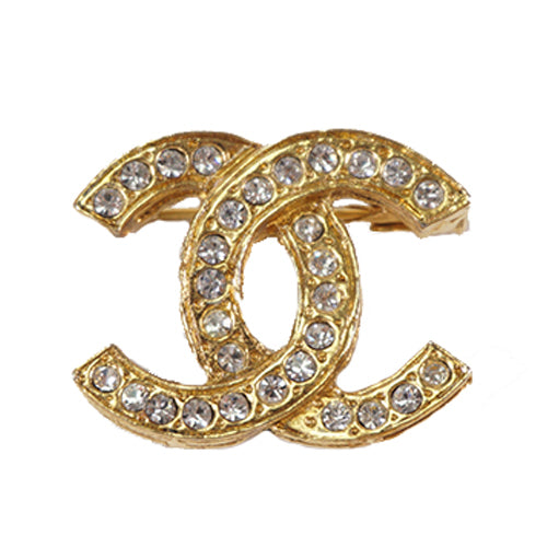 Buy & Consign Authentic Chanel Brooch Coco Mark Rhinestone Gold at The Plush Posh