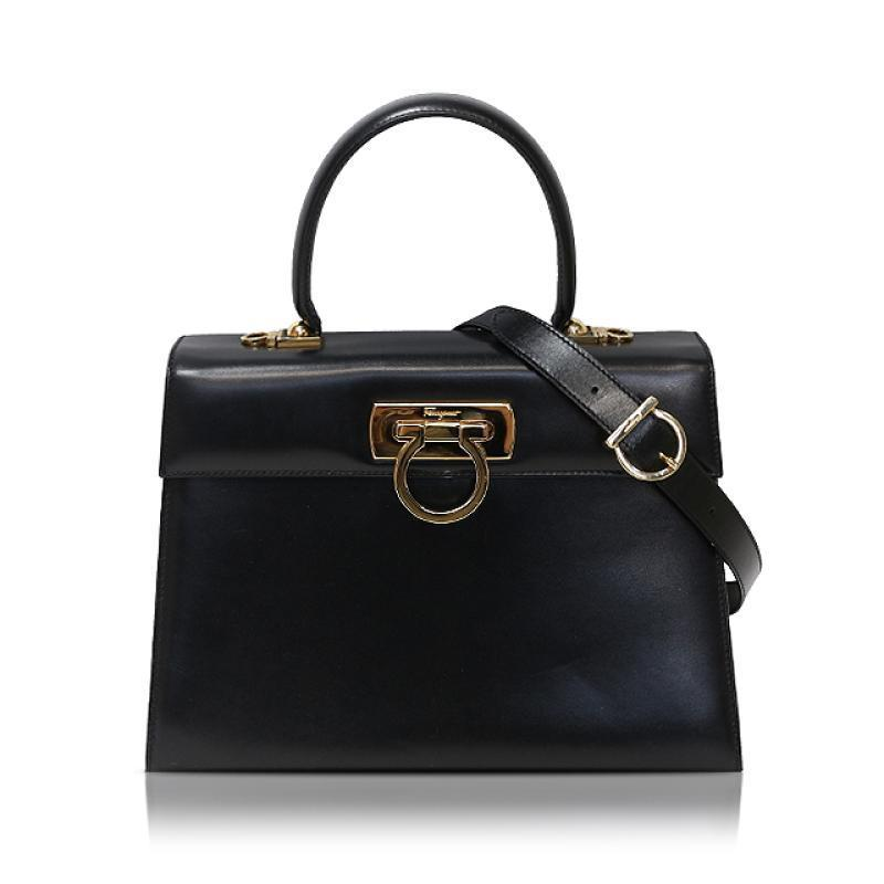 Buy & Consign Authentic Salvatore Ferragamo Lady Gancini Box Bag Black at The Plush Posh
