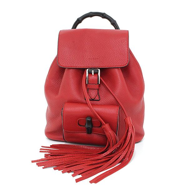 Buy & Consign Authentic Gucci Bamboo rucksack Red at The Plush Posh