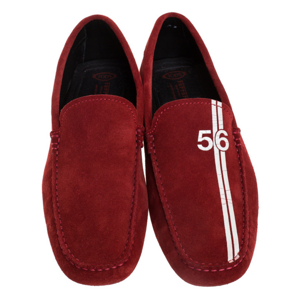 Tod's For Ferrari Red Suede Limited Edition Gommino Moccasins Size 42