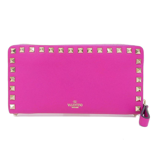 Buy & Consign Authentic Valentino Garavani Valentino Lock Studs Long Wallet Leather Pink at The Plush Posh