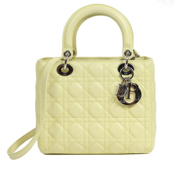 Buy & Consign Authentic Christian Dior Lambskin Cannage Mini Lady Dior Yellow at The Plush Posh
