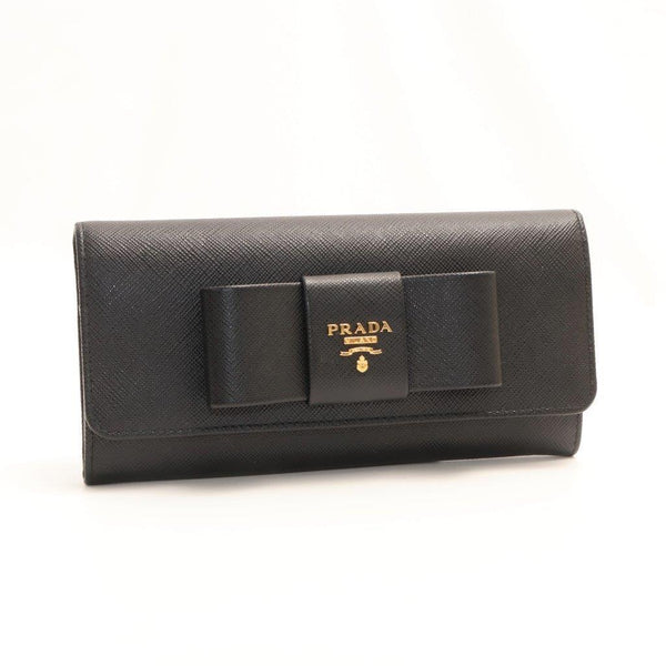 Buy & Consign Authentic Prada Saffiano Fiocco Bow Flap Wallet Nero at The Plush Posh