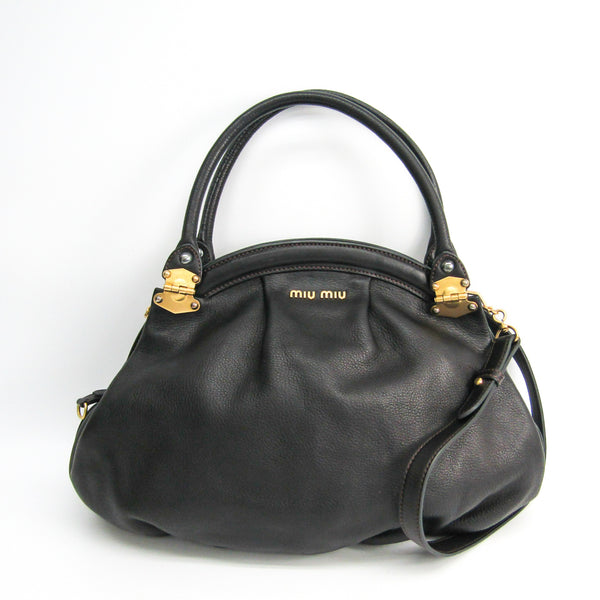 Buy & Consign Authentic Miu Miu Women's Leather Handbag Dark Brown at The Plush Posh