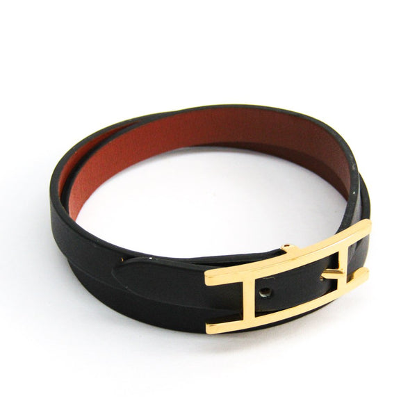 Buy & Consign Authentic Hermes Epsom Behapi Double Tour Bracelet Small Black at The Plush Posh