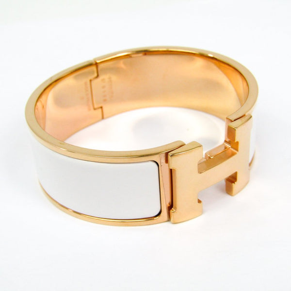 Buy & Consign Authentic Hermes Enamel Wide Clic Clac H Bracelet GM White at The Plush Posh