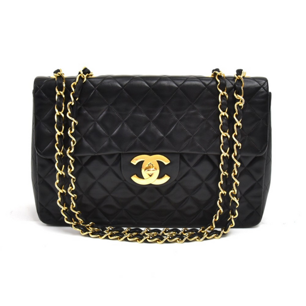 Chanel Vintage Classic Black Quilted Lambskin Leather Classic Flap Bag