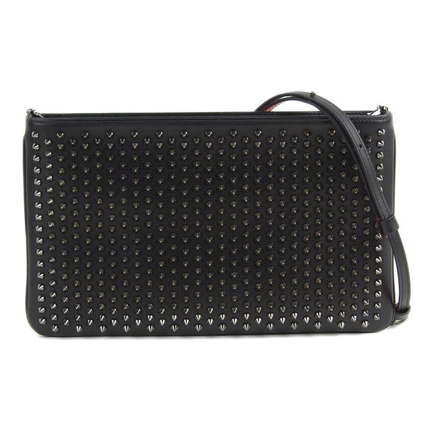 Buy & Consign Authentic Christian Louboutin Calfskin Spiked Zoompouch Crossbody Black at The Plush Posh