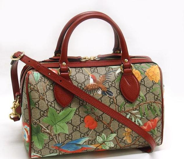 Buy & Consign Authentic Gucci GG Supreme Tian Mini Boston Bag Bird Flower Pattern at The Plush Posh