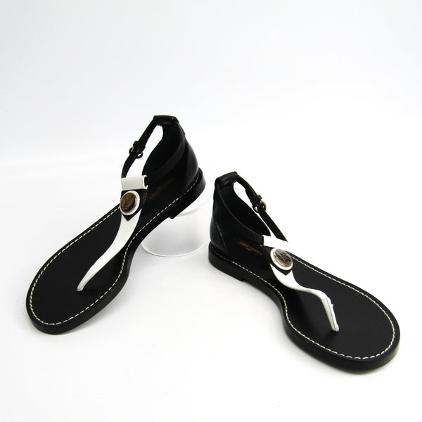 Louis Vuitton Black & White leather Ankle Strap Sandals