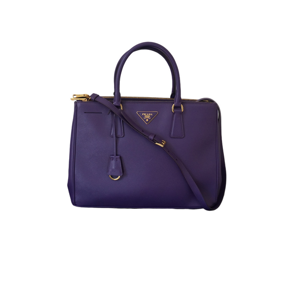 Prada Saffiano Galleria Double Zip Tote Purple