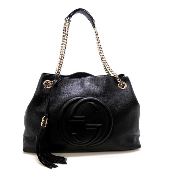 Gucci Calfskin Medium Soho Chain Shoulder Bag Black