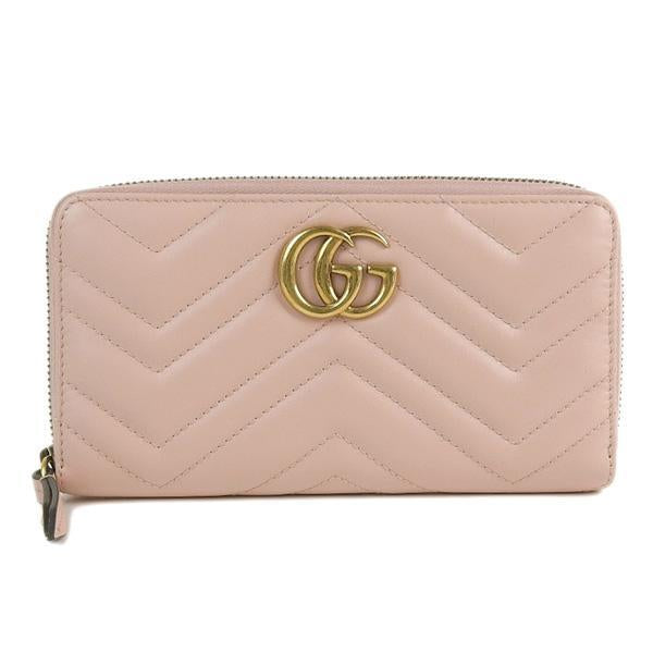 Buy & Consign Authentic Gucci Calfskin Matelasse GG Marmont Zip Around Wallet Blush Pink at The Plush Posh