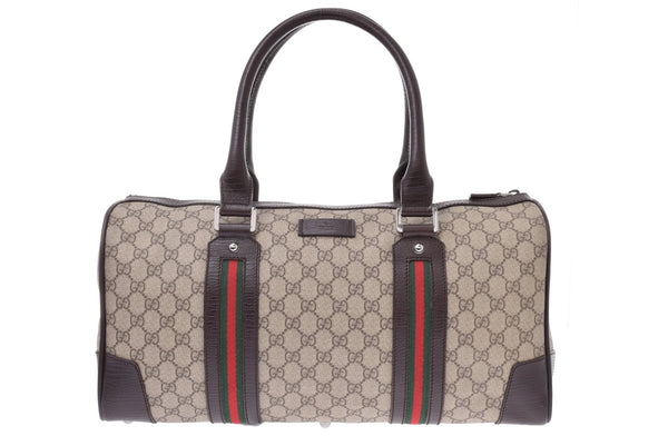 Buy & Consign Authentic Gucci Monogram Vintage Web Medium Boston Dark Brown at The Plush Posh