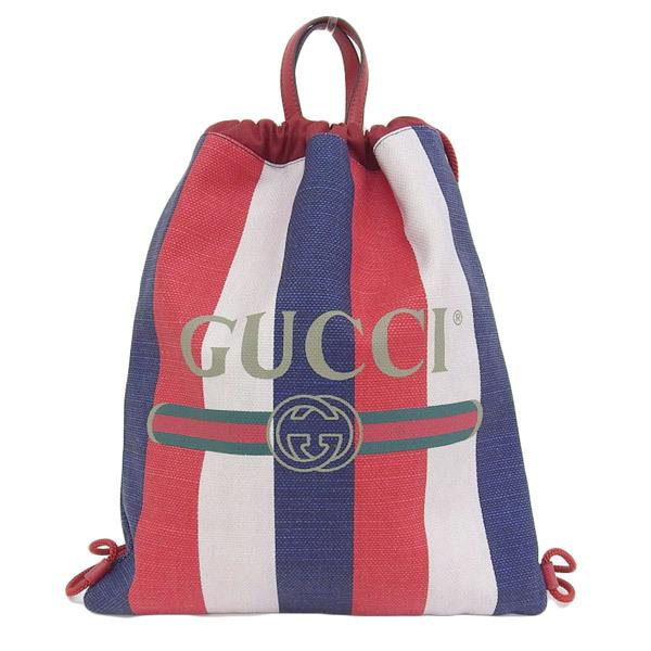 Buy & Consign Authentic Gucci Leather Trimmed Logo Print Striped Canvas Drawstring Backpack at The Plush Posh