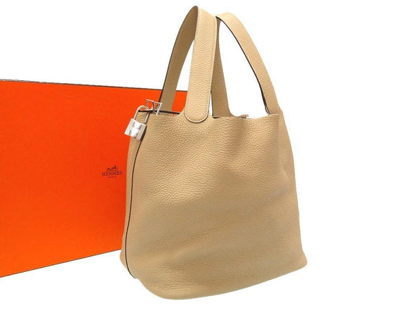 Buy & Consign Authentic Hermes Taurillon Clemence Picotin Lock TGM Gris Tourterelle at The Plush Posh
